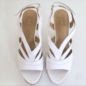 Naturalizer Delfina White Sling Sandal Heels